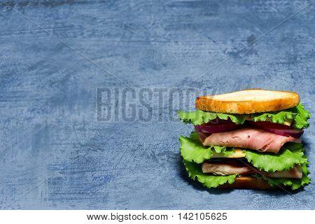 Sandwich Over Spotty Blue