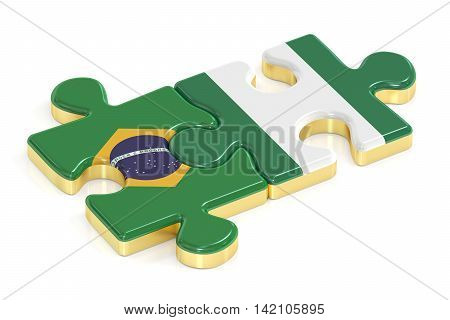 Brazil and Nigeria puzzles from flags 3D rendering