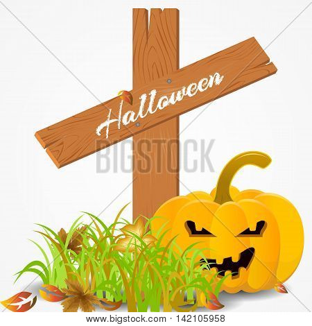 Halloween card with a pumpkin and leaves on a cemetery. vector illustration