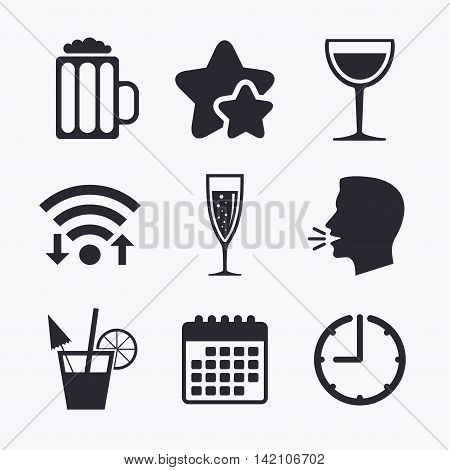 Alcoholic drinks icons. Champagne sparkling wine with bubbles and beer symbols. Wine glass and cocktail signs. Wifi internet, favorite stars, calendar and clock. Talking head. Vector