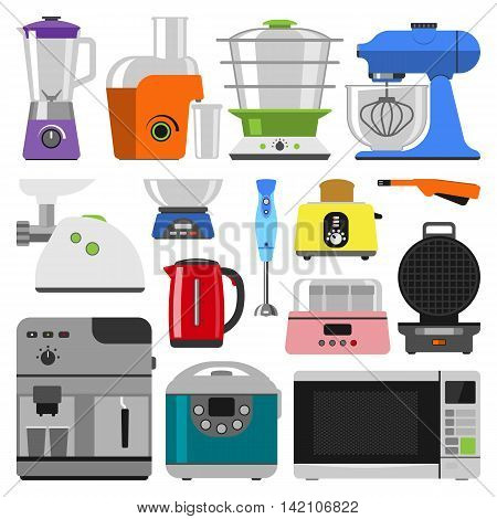 Home appliances cooking kitchen appliances and home equipment kitchen. Home appliances household cooking set. Home electronics kitchen appliances elements infographics template concept vector.