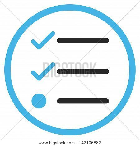 Checklist glyph icon. Style is bicolor flat rounded iconic symbol, checklist icon is drawn with blue and gray colors on a white background.