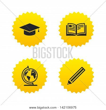 Pencil and open book icons. Graduation cap and geography globe symbols. Education learn signs. Yellow stars labels with flat icons. Vector