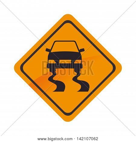 sign car yellow road precaution caution symbol risk vector graphic isolated and flat illustration