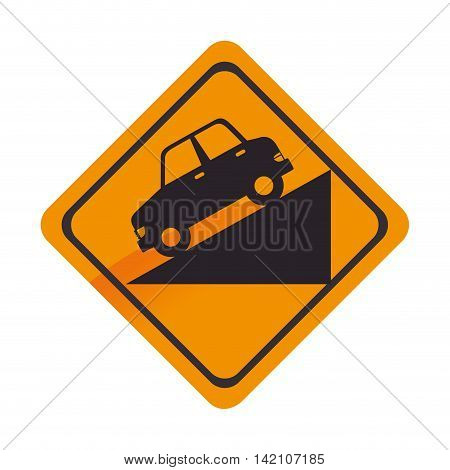 sign car down yellow precaution caution symbol risk vector graphic isolated and flat illustration