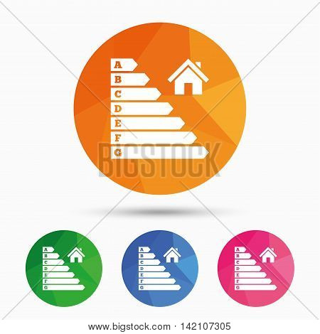 Energy efficiency icon. Electricity consumption symbol. House building sign. Triangular low poly button with flat icon. Vector