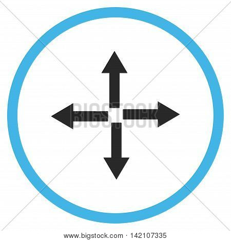 Expand Arrows glyph icon. Style is bicolor flat rounded iconic symbol, expand arrows icon is drawn with blue and gray colors on a white background.