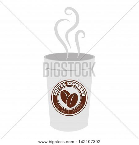 cup take away espresso coffee hot drink vector graphic isolated and flat illustration