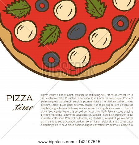 Vector illustration with cartoon hand drawn pizza background. Vector pizzeria cafe restaurant menu. Italian cuisine food. Cartoon pizza. Delivery menu hand drawn objects. Traditional Italy food