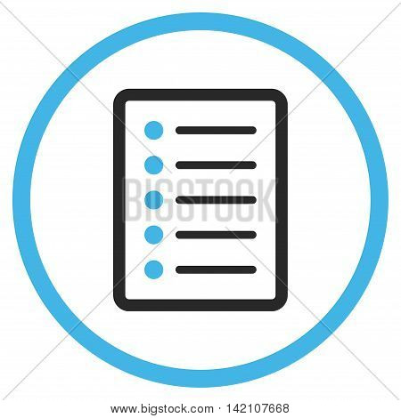 List Page glyph icon. Style is bicolor flat rounded iconic symbol, list page icon is drawn with blue and gray colors on a white background.
