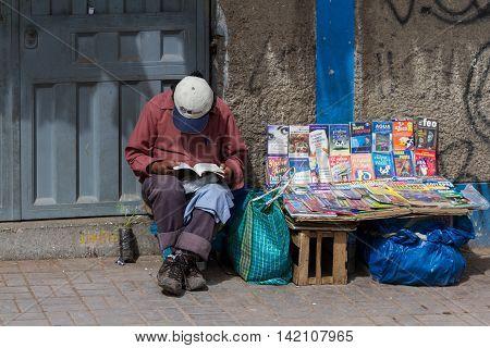 Native Sidewalk Vendors In Peru