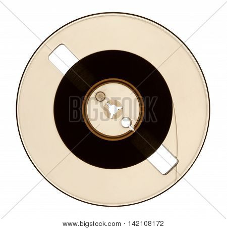 Half full spool of audio tape isolated on white with clipping path backlit