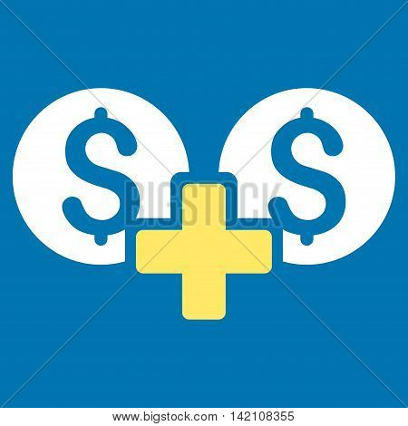 Financial Sum icon. Vector style is bicolor flat iconic symbol with rounded angles, yellow and white colors, blue background.