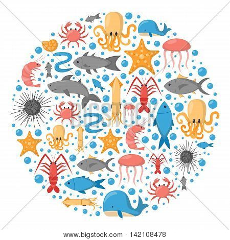 Vector cartoon illustration sea animals background: crab octopus jellyfish shark whale. Children book cartoon cover or illustration. Fish market or aquarium vector icons. Underwater creature