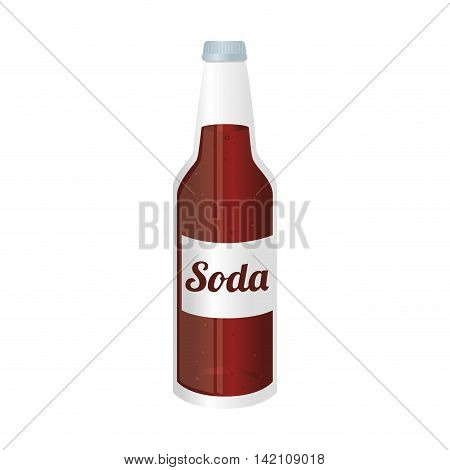 soda bottle glass liquid drink recipient cap vector graphic isolated and flat illustration