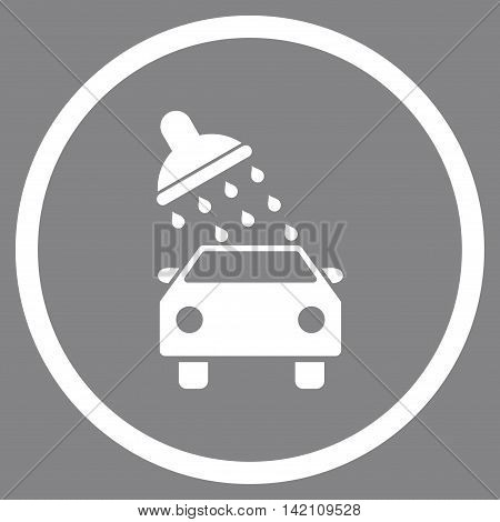 Car Wash vector icon. Style is flat rounded iconic symbol, car wash icon is drawn with white color on a gray background.