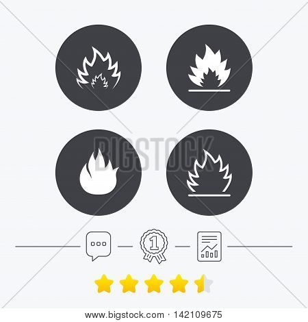 Fire flame icons. Heat symbols. Inflammable signs. Chat, award medal and report linear icons. Star vote ranking. Vector