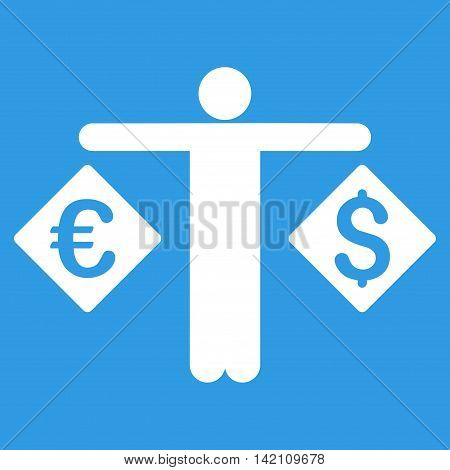 Currency Trader icon. Vector style is flat iconic symbol with rounded angles, white color, blue background.