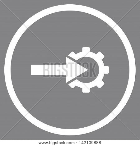 Cog Integration vector icon. Style is flat rounded iconic symbol, cog integration icon is drawn with white color on a gray background.
