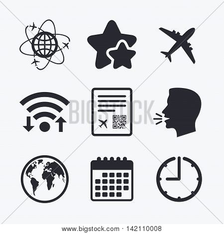 Airplane icons. World globe symbol. Boarding pass flight sign. Airport ticket with QR code. Wifi internet, favorite stars, calendar and clock. Talking head. Vector