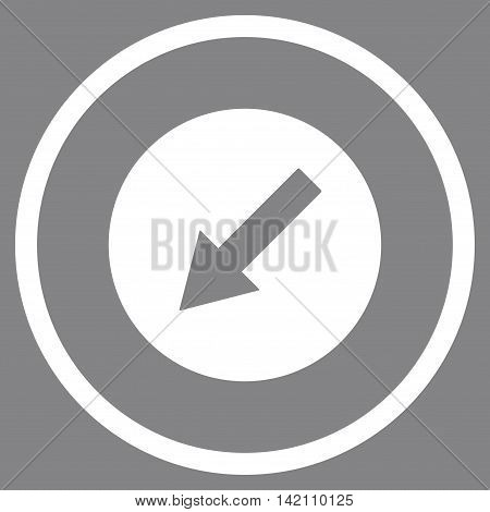 Down-Left Rounded Arrow vector icon. Style is flat rounded iconic symbol, down-left rounded arrow icon is drawn with white color on a gray background.