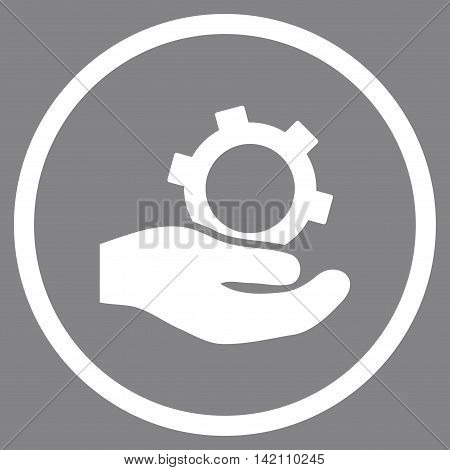 Engineering Service vector icon. Style is flat rounded iconic symbol, engineering service icon is drawn with white color on a gray background.