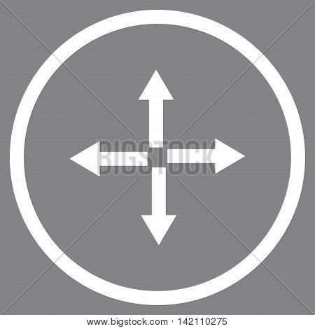 Expand Arrows vector icon. Style is flat rounded iconic symbol, expand arrows icon is drawn with white color on a gray background.