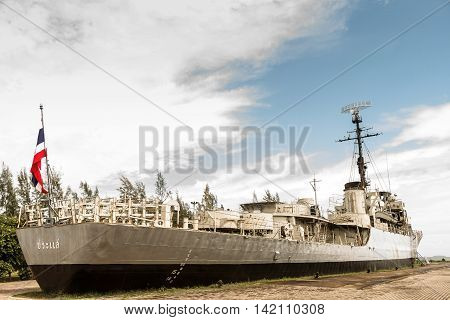 Rayong, Thailand - August 06 2016: Prasae Frigate 412 Of Royal Thai Navy Shown As For Tourists At Rayong Province Thailand.