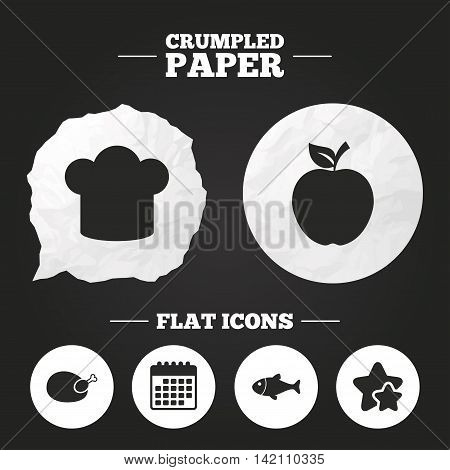 Crumpled paper speech bubble. Food icons. Apple fruit with leaf symbol. Chicken hen bird meat sign. Fish and Chef hat icons. Paper button. Vector