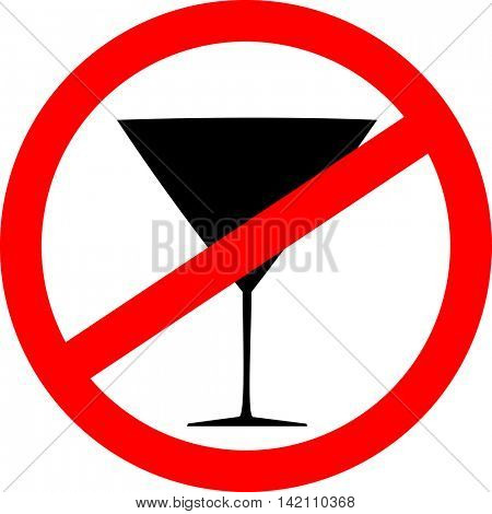 Prohibition sign icon. No drink. Vector illustration