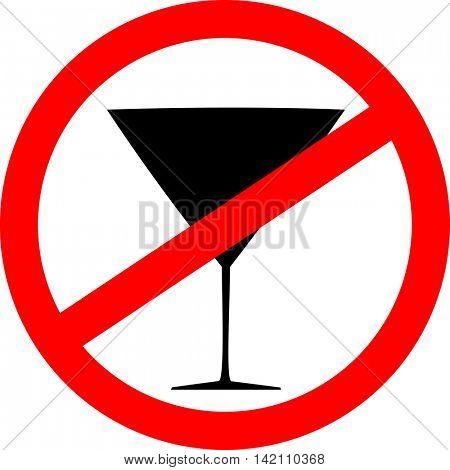 Prohibition sign icon. No drink. Vector illustration