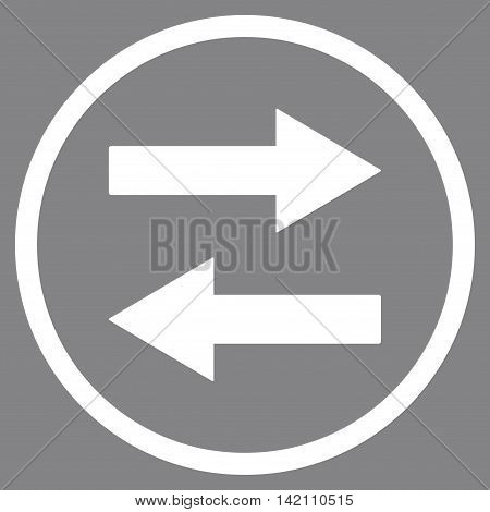 Horizontal Flip Arrows vector icon. Style is flat rounded iconic symbol, horizontal flip arrows icon is drawn with white color on a gray background.