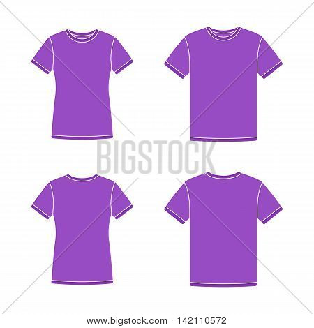 Mens and womens purple short sleeve t-shirts templates. Front and back views. Vector flat illustrations