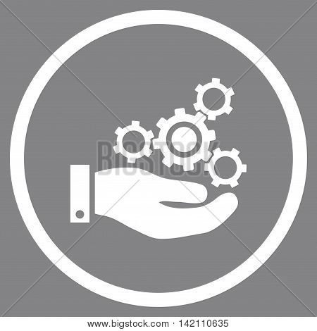 Mechanics Service vector icon. Style is flat rounded iconic symbol, mechanics service icon is drawn with white color on a gray background.
