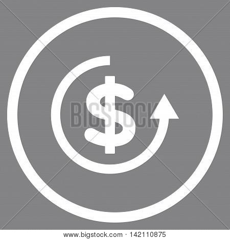 Refund vector icon. Style is flat rounded iconic symbol, refund icon is drawn with white color on a gray background.