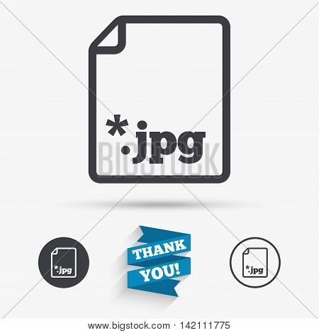 File JPG sign icon. Download image file symbol. Flat icons. Buttons with icons. Thank you ribbon. Vector
