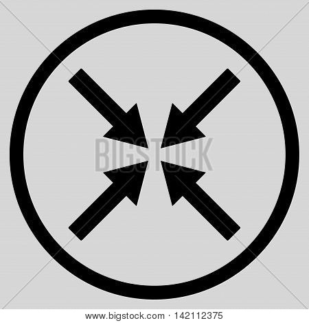Center Arrows vector icon. Style is flat rounded iconic symbol, center arrows icon is drawn with black color on a light gray background.
