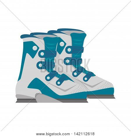 ski boots sport winter snowboarding mountain protection shoes vector graphic isolated and flat illustration