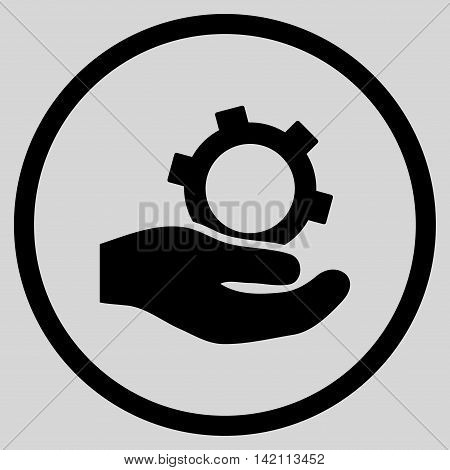 Engineering Service vector icon. Style is flat rounded iconic symbol, engineering service icon is drawn with black color on a light gray background.