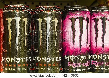 Indianapolis - Circa August 2016: Monster Beverage Display. Monster Corporation manufactures energy drinks including Monster Energy III