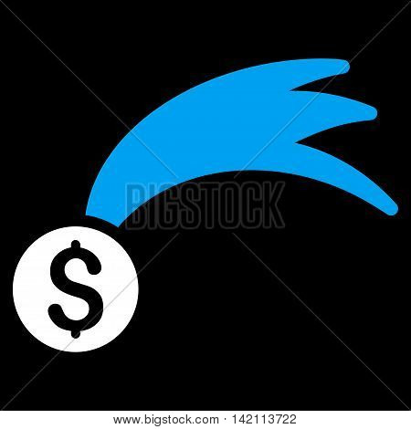 Lucky Money icon. Glyph style is bicolor flat iconic symbol with rounded angles, blue and white colors, black background.