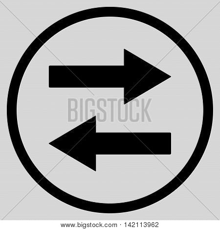 Horizontal Flip Arrows vector icon. Style is flat rounded iconic symbol, horizontal flip arrows icon is drawn with black color on a light gray background.