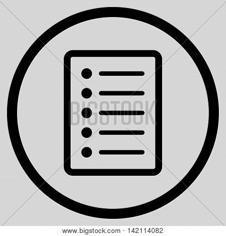 List Page vector icon. Style is flat rounded iconic symbol, list page icon is drawn with black color on a light gray background.