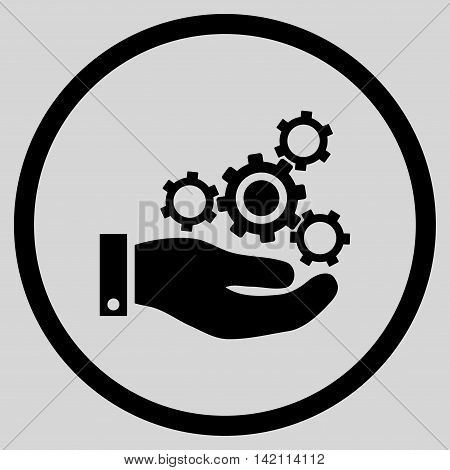 Mechanics Service vector icon. Style is flat rounded iconic symbol, mechanics service icon is drawn with black color on a light gray background.