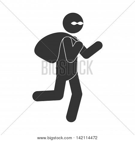 criminal thief person man black uniform mask sack classic run  vector graphic isolated and flat illustration