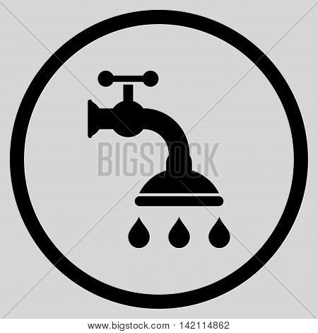 Shower Tap vector icon. Style is flat rounded iconic symbol, shower tap icon is drawn with black color on a light gray background.