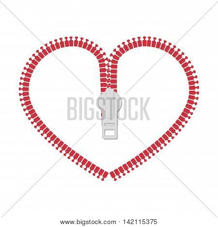 zip heart love zipper purse open object romance vector graphic isolated illustration