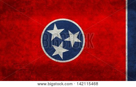 State flag of Tennessee with distressed grungy textures