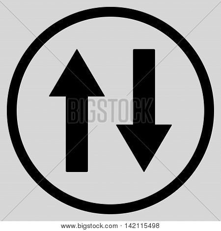 Vertical Flip Arrows vector icon. Style is flat rounded iconic symbol, vertical flip arrows icon is drawn with black color on a light gray background.