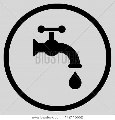 Water Tap vector icon. Style is flat rounded iconic symbol, water tap icon is drawn with black color on a light gray background.